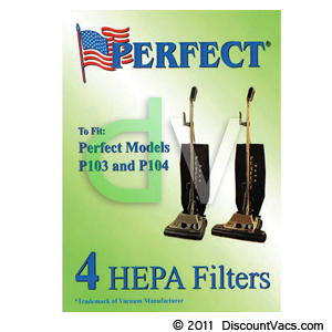 Perfect Certified HEPA Media Filter (Bags) for Upright Vacuums - 4 Pack Part # 15-1801