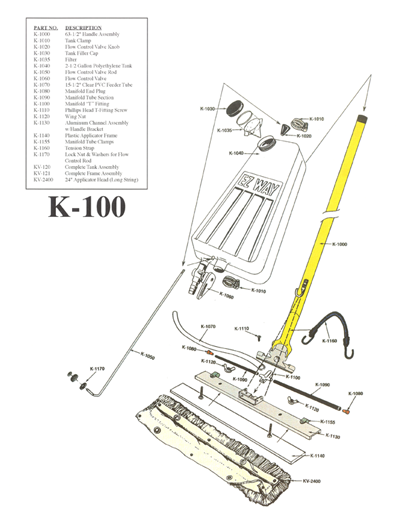 K-100 E-Z Way Floor Applicator Schematic